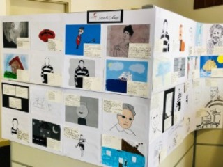 Primary school students create postcards from the past